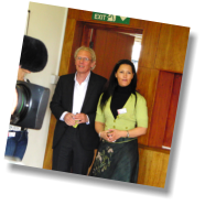 Paul Nicholas arrives at the PNSA Bromley launch